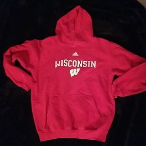 Adidas red with red Wisconsin graphic sweatshirt